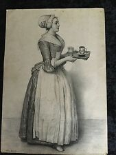 """18th Century Jean-Etrenne Liatard Etching Of """" The Hot Chocolate Girl"""""""