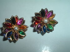 Vintagen Gripoix Glass and Pearl Flower Clip Earrings C1940 in Gift Box