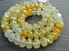 "HAND FACETED AQUAMARINE & HELIODOR RONDELLES, approx 9mm, 16"", 68 beads, 260ctw"