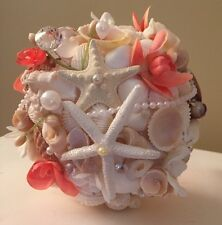 XO Bouquets One Bride 20 Inch Coral Seashell Bouquet One Boutonnière