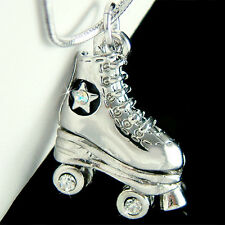 w Swarovski Crystal star ~3D Roller Skates shoe Pendant Chain Necklace Xmas Gift