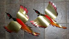 VINTAGE PAIR RETRO MID CENTURY MODERN DANISH ERA  PHEASANTS WALL ART