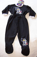 Collingwood Magpies AFL Boys Black Printed 2 Piece Fleece Pyjama Set Size 00 New