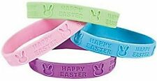 Pack of 12 - Rubber Happy Easter Bunny Bracelets - Stocking Party Loot Bags