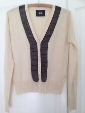 Dolce & Gabbana 100% Silk Cream & Black Cardigan Immaculate Size 44 See Measurem