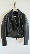 BURBERRY PRORSUM WOMENS BLACK LEATHER BIKER JACKET SS14 SIZE 8 10 £2995 RETAIL!!