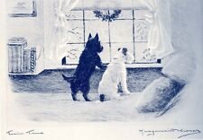 Scottish & Fox Terrier Dogs 1920s Marguerite Kirmse LARGE New Blank Note Cards