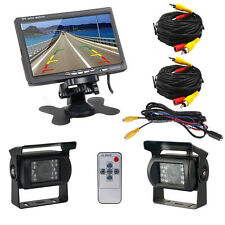 "Bus Truck RV 7"" LCD Rear view Monitor+2x Night Vision Reverse Backup Camera"