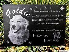 Tier Grabstein Gedenktafel Grabstein Schiefer Grabplatte Gravur Hund 20 x 10 cm