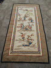 Antique chinese hand broderie soie wall hanging tapestry/panel 60X31cm (X121)