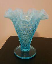 """Vintage Fenton Opalescent Blue Hobnail Ruffled Crimped Art Glass Vase 5 3/4"""""""