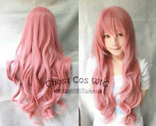 Beautiful 80CM Vocaloid Luka Ruka Magnet Long wavy pink color Cosplay Wig