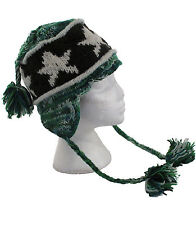 Green Mix WOOL EAR FLAP FESTIVAL SKI HAT with STAR PATTERN Fleece Lining