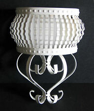 White Painted Metal Wall Sconce Plant Candle Holder Vintage FREE SH