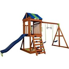 Outdoor Play Set Fortress Wooden Structure Swings Slide Rockwall House Kids NEW