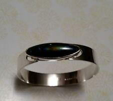 Vintage Sterling Silver Kaunis Koru HN Finland Modernist Spectrolite Bracelet