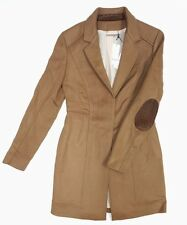 NEW DVF CARA FAWN BROWN SOFT WOOL BLEND COAT JACKET LAMB LEATHER TRIM SIZE 12