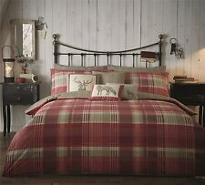 100% BRUSHED COTTON CHECK RED BEIGE CREAM STAG SINGLE DUVET COMFORTER COVER