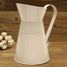 Vintage Shabby Chic Cream Vase Enamel Pitcher Jug Tall Metal Decor Garden