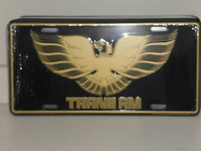 TRANS AM-BLACK & GOLD PONTIAC WITH BIRD ALUMINUM LICENSE PLATE MADE IN USA GM