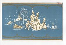 Vintage Photocraft Christmas Greeting Card Victorian Family Walking Photo Holder