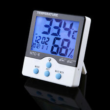 HTC-6 Luminous Digital LCD Temperature Thermometer Humidity TEMP Meter Clock UK