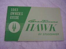 1963 STUDEBAKER HAWK  ORIGINAL OWNERS MANUAL   VERY NICE
