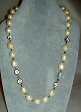 "Mint Vintage GIVENCHY Swarovski Crystal Faux Baroque Pearl 24"" Necklace with Bag"