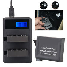 Battery + Dual USB Charger for Gopro AHDBT-401 HD Hero4 Silver Black UK