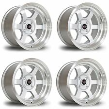 4 x Rota Grid-V Silver / Polished Lip Alloy Wheels 15x8"