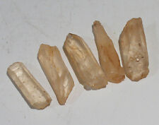 5 x TANGERINE SINGING QUARTZ CRYSTAL POINTS & PIECES 23mm - 27mm BAG & ID CARD