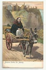 lo irish life postcard ireland donkey cart