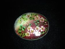 Vintage Russian Brooch Hand Painted Portrait Fedoskino on Mother of Pearl (#3)