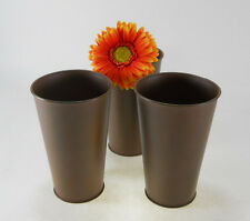 "3pc Rust Look 7"" Tall Flower Pots French Pot Bucket pail arrangement decor vase"