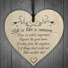 Life is Like A Camera Sign Plaque Gift Shabby Chic Wood Hanging Heart Thank You
