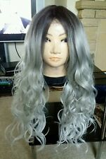 Real Human Hair Wig, Grey, Silver, Blue, Long, Ombré,
