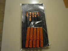 "New ! 10 Counts Mini Wood Clips Black and Orange Color 3"" long Trick or Treat"