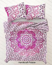 Indian Pink Ombre Mandala Hippie Bohemian Reversible Single Duvet & Pillow Cover