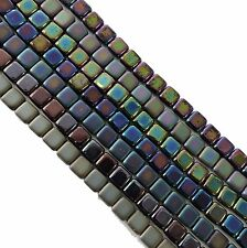 Iris Mix 6mm 175pc Square Czech Czechmate Glass Two Hole Tile Beads