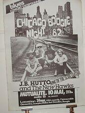 J.B.HUTTO-CHICAGO BOOGIE NIGHT 82-POSTER - AFFICHE ORIGINALE BLUES-CONCERT PARIS