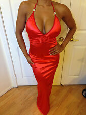 Sexy Bodycon  Red STRETCH SATIN Halter Maxi Party Dress Small