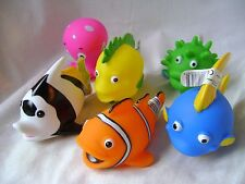 NEW 6 SQUIRTY BATH ANIMALS BATHTIME TOYS FISH PUFFER OCTOPUS BRIGHT FUN! HOM
