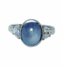 Vintage Platinum 2.7ct Blue Star Sapphire Half Moon Diamond  Ring Estate VIDEO