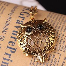 Vintage Chain Magnifying Glass Necklace Pendant Cute Owl Big Black Eyes Gift NEW