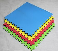 64 SQ FT Interlocking EVA Soft Foam Exercise Floor Mats Play Area Multicoloured
