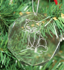 Personalized Crystal Octagon Cat Christmas Ornament Custom Gift