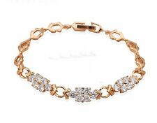 Nobby white Crystal design yellow Gold Plated Bracelets