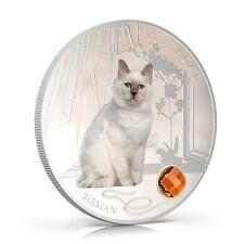 Fiji 2013 Fluffy Cat IV Birman Sacred Cat Dogs & Cats 1 Oz Proof  Silver Coin