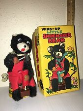 Vintage WIND-UP LITTLE SHOEMAKER BEAR TIN Shoe Maker JAPAN Metal NOMURA TN & BOX