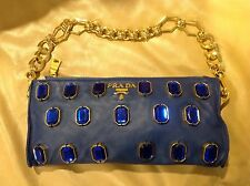 Exclusive PRADA Blue clutch handbag with Blue stones gold chain With certificate
